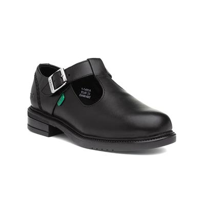 Lach Girls T-Bar Leather Shoe in Black