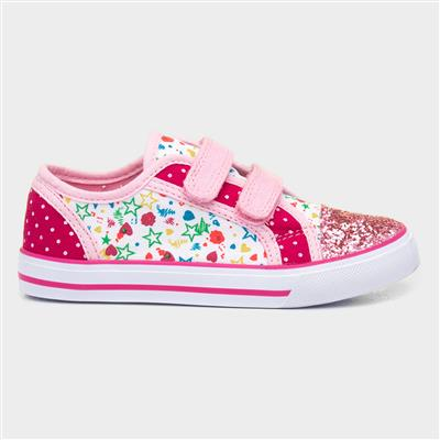 Kids Pink Patterned Touch Fasten Canvas