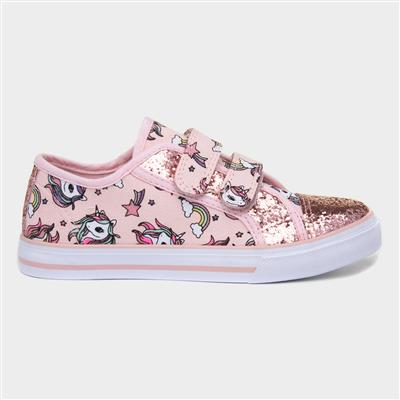 Girls Pink Unicorn Canvas Shoe