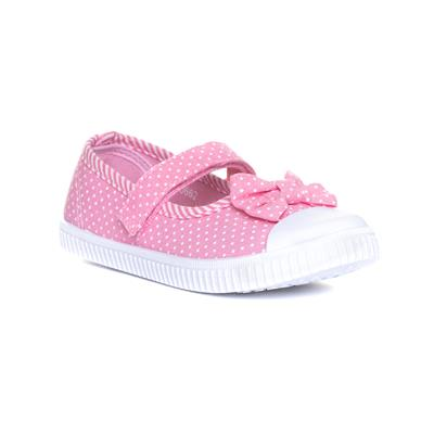 Girls Pink Easy Fasten Canvas with Bow