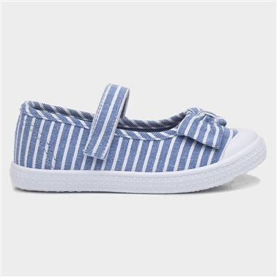 Girls Blue & White Stripe Canvas