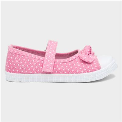 Girls Pink Polka Dot Easy Fasten Canvas