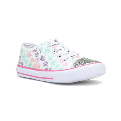 Girls White Star Lace Up Canvas