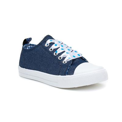 Fintina Girls Navy Lace Up Canvas
