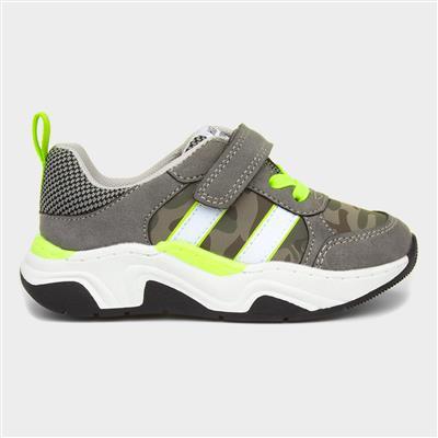 Boys Grey & Camouflage Print Shoe