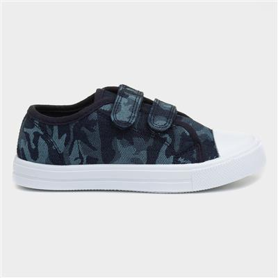 Boys Navy Camouflage Canvas Shoe