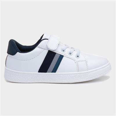 Boys White Touch Fasten Casual Shoe