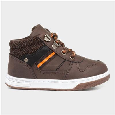 Boys Lace Up Hi-Top in Brown