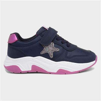 Girls Navy Easy Fasten Shoe
