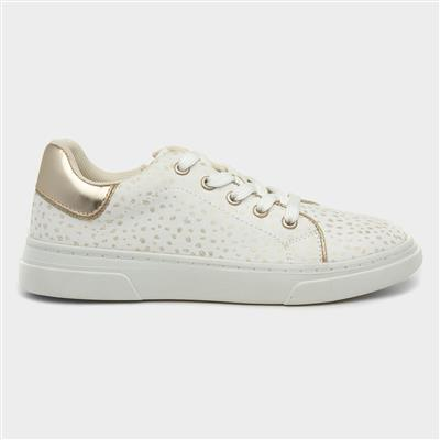 Girls White & Gold Lace Up Casual Shoe