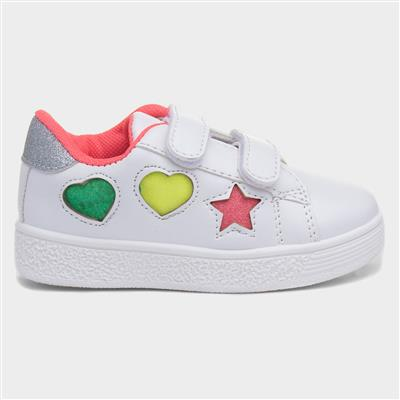 Girls White Touch Fasten Casual Shoe