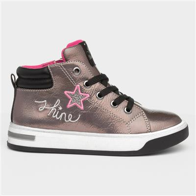 Girls Lace Up Hi-Tops in Pewter