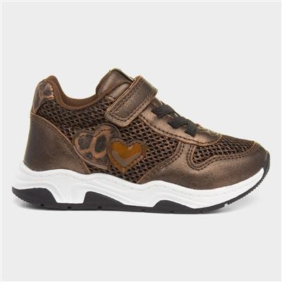 Girls Easy Fasten Shoe in Bronze