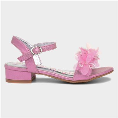 Girls Pink Floral Heeled Sandal
