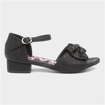 Girls Black Bow Heeled Party Shoe