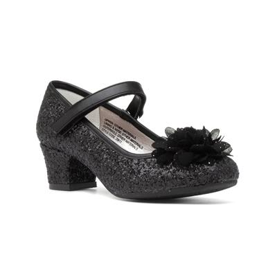Girls Black Glitter Heeled Shoe