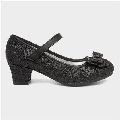 Girls Glitter Heeled Shoe in Black