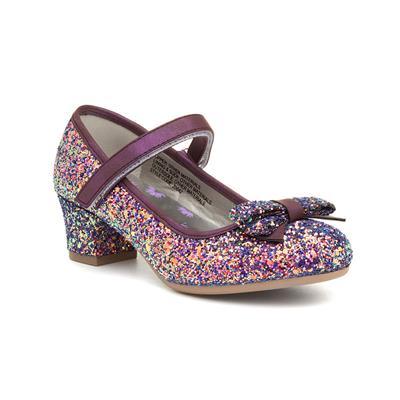 Girls Purple Glittery Heeled Shoe