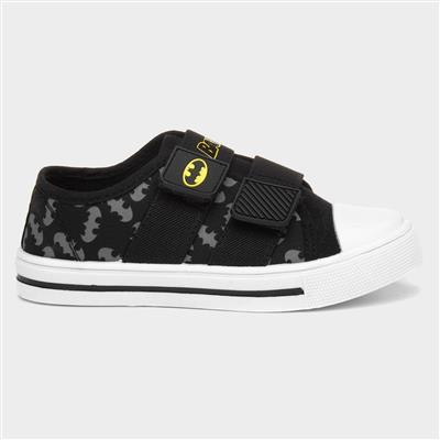 Kids Black Touch Fasten Canvas Shoe