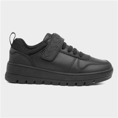 Strong Boys Black Leather Easy Fasten Shoe
