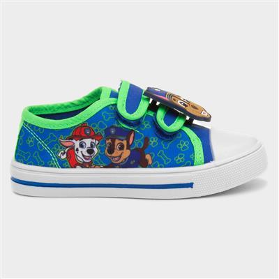 Kids Blue Easy Fasten Canvas Shoe