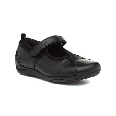 Cindy Girls Black Leather Shoe