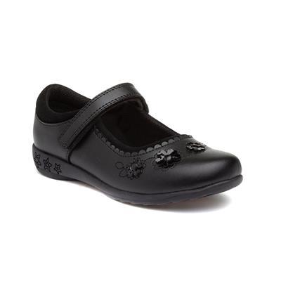 Parati Girls Black Easy Fasten Shoe