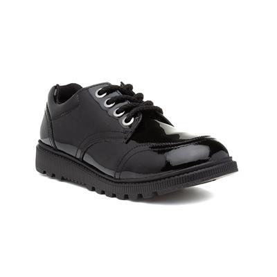 Kiera Girls Black Patent Lace Up Shoe