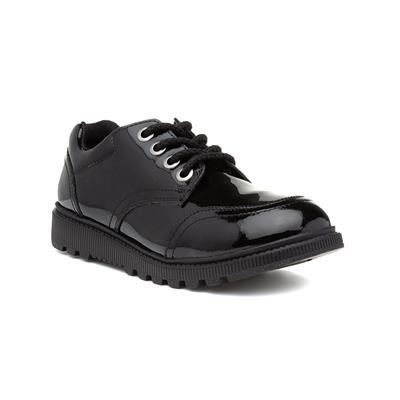 Kiera Girls Black Patent Lace Up Shoe