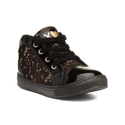 Girls Black & Metallic Patent Boots