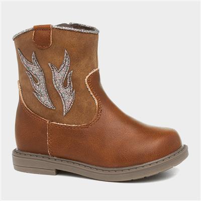 Cowboy Girls Tan Ankle Boot