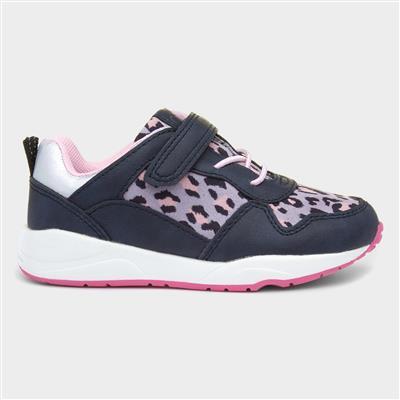 Girls Navy & Pink Leopard Print Shoe