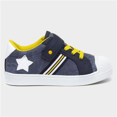 Boys Navy & Yellow Easy Fasten Shoe