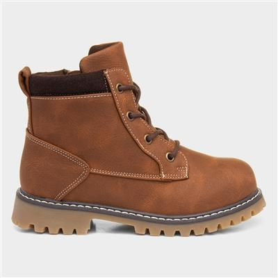 Devin Boys Tan Lace Up Boot