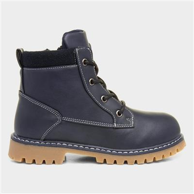 Devin Boys Navy Lace Up Boot