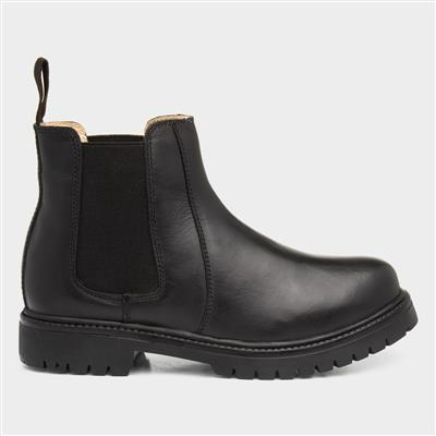 Pete Kids Black Leather Chelsea Boot