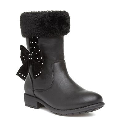 Girls Black Zip Up Calf Boot