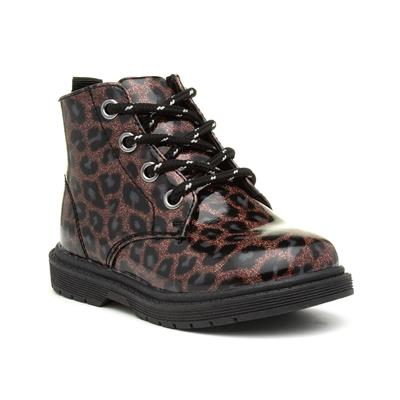 Girls Brown Lace Up Leopard Ankle Boot