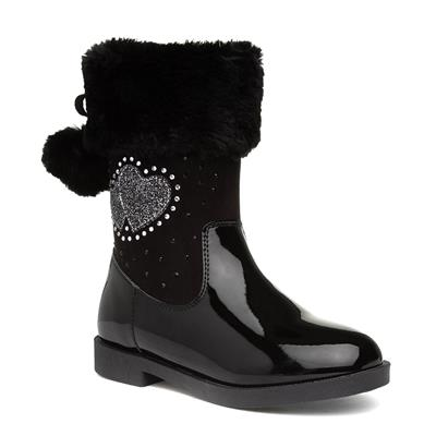 Girls Black Patent Calf Boot