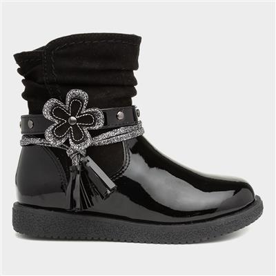 Girls Black Zip Up Ankle Boot