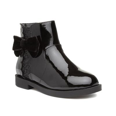 Girls Black Patent Ankle Boot