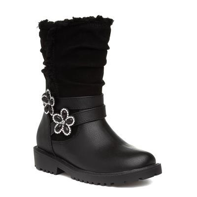 Girls Black Floral Diamante Calf Boot