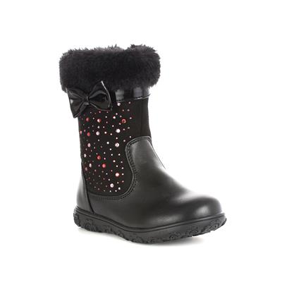 Girls Black Faux Fur Diamante Calf Boot