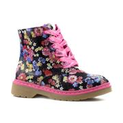Pink Girls Floral Lace Up Ankle Boot (Click For Details)
