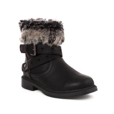 Girls Faux Fur Ankle Boot in Black