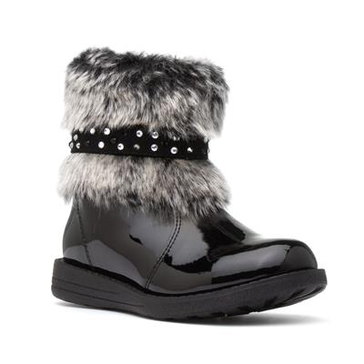 Kids Black Ankle Boot with Faux Fur