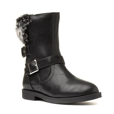 Girls Black Faux Fur Boot