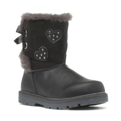 Girls Black Faux Fur Ankle Boot