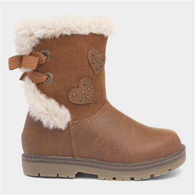Girls Tan Faux Fur Ankle Boot