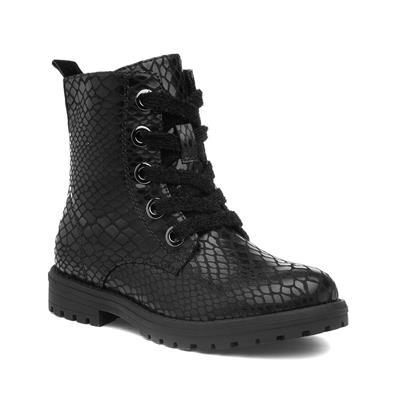 Girls Black Snake Print Zip Up Boot